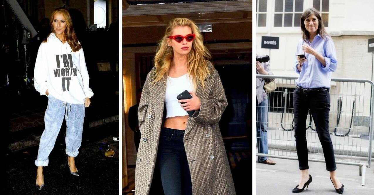 Från vänster: Celine Dion, Stella Maxwell och Emmanuelle Alt i låga jeans som de stylat på olika sätt.