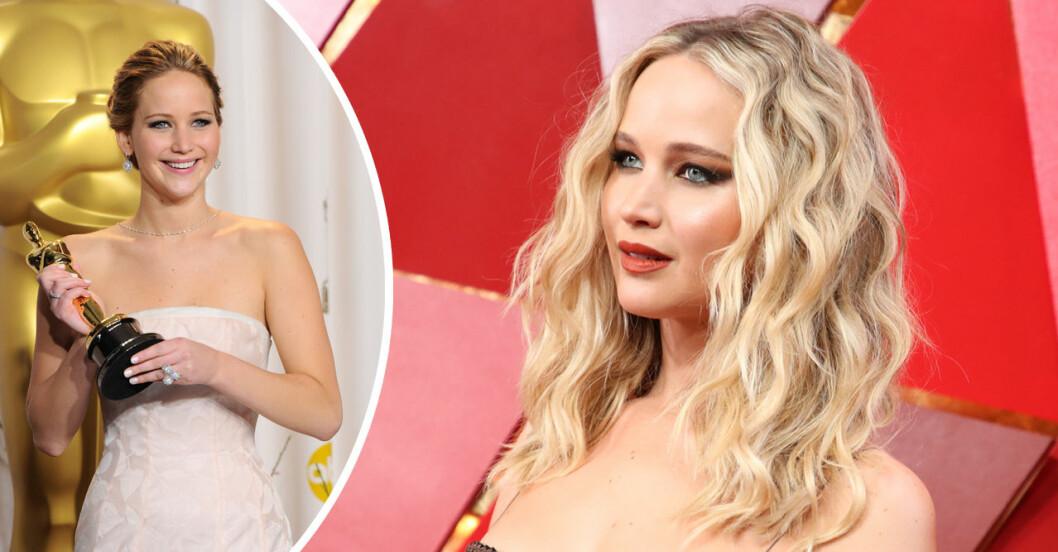 Jennifer Lawrence på röda mattan har vunnit en oscar