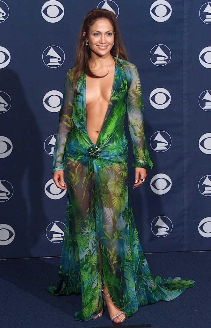 Jennifer lopez i grön Versace-klänning