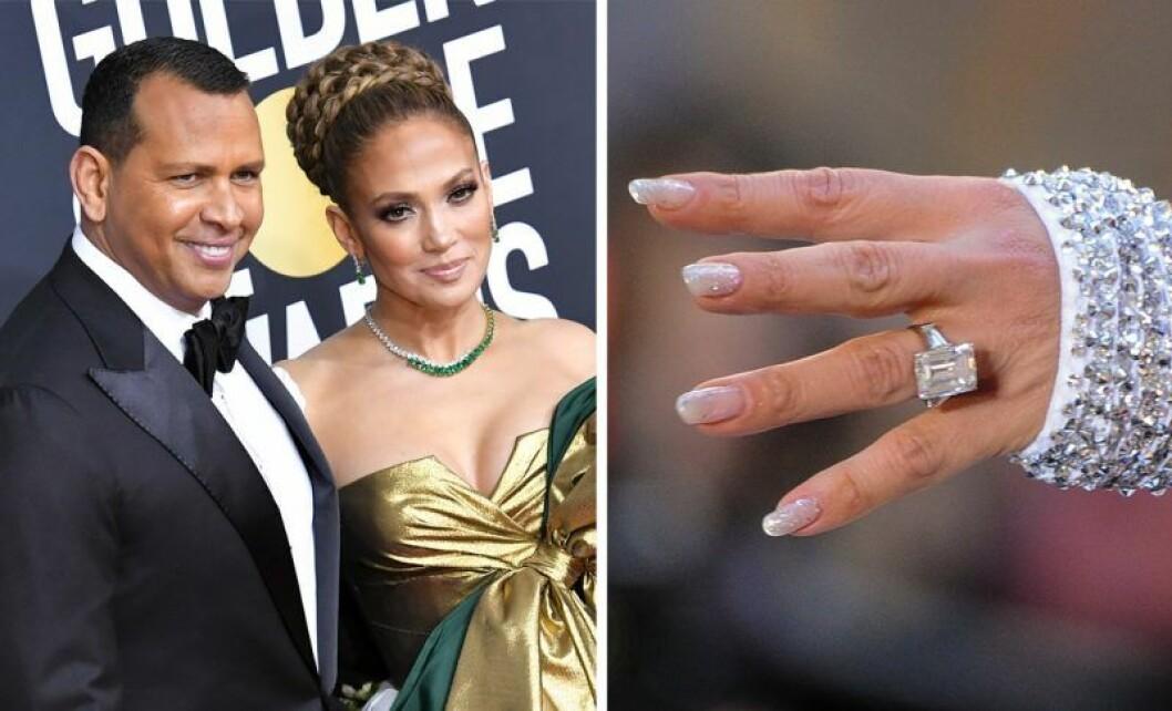Jennifer Lopez och Alex Rodriguez med diamantring