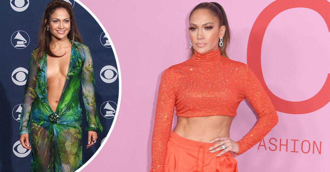 Jennifer Lopez i grön Versaceklänning 2000 och Jennifer Lopez i orange långärmad magtröja år 2019