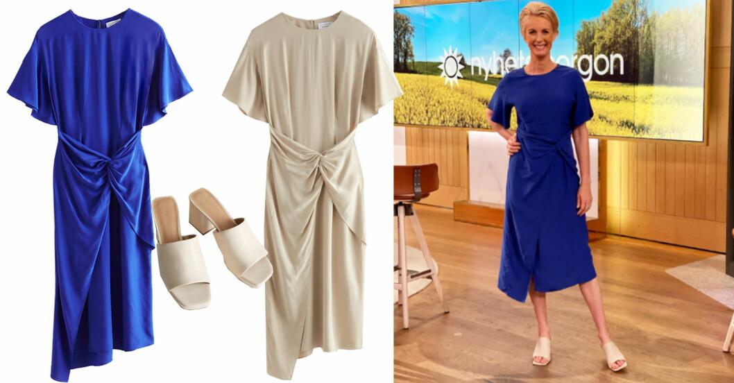 jenny strömstedt blå klänning nyhetsmorgon
