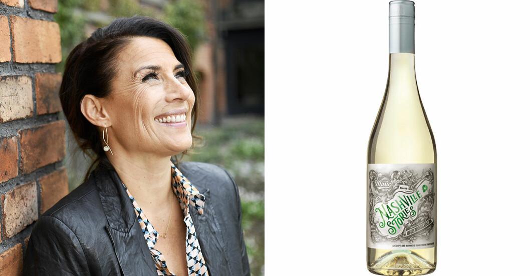 Jill Johnson och en flaska vitt vin