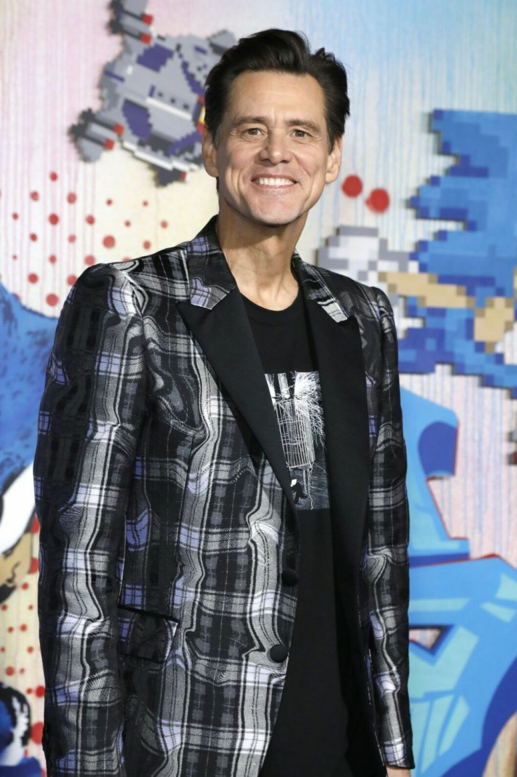 Jim Carrey i rutor kostym