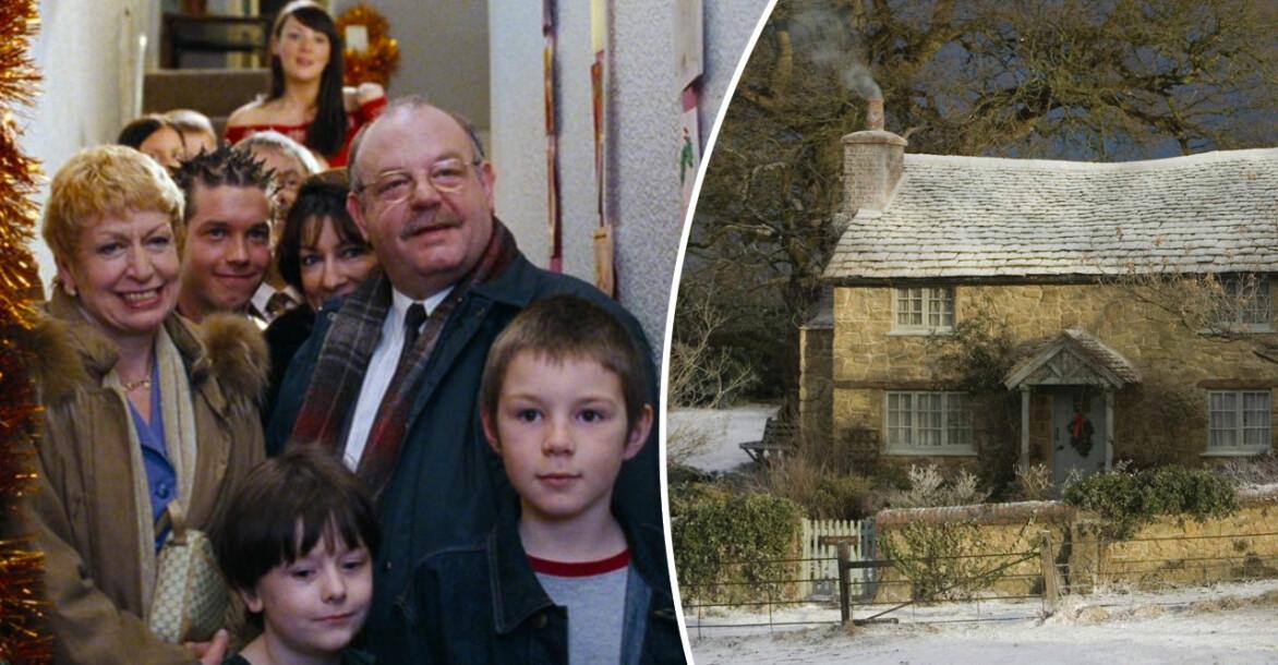 Bild på Natalies familj i Love Actually och huset i The holiday