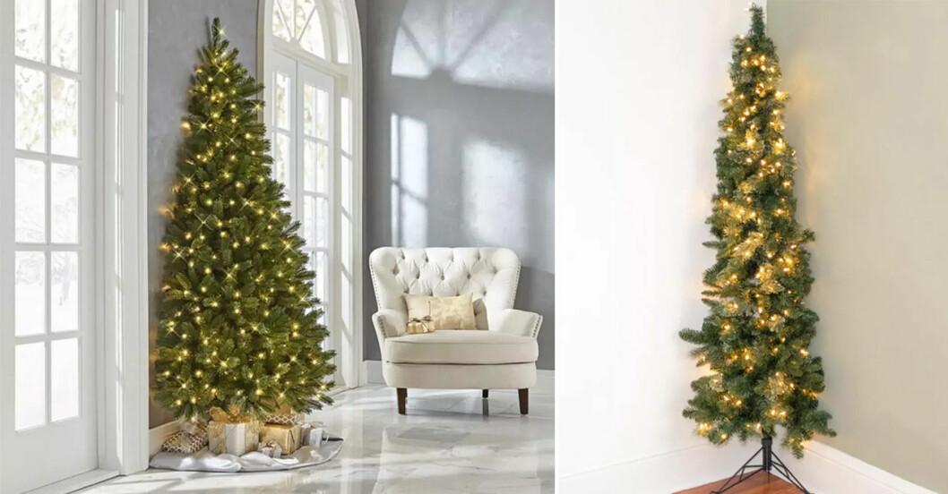 Halva julgranar mot vägg