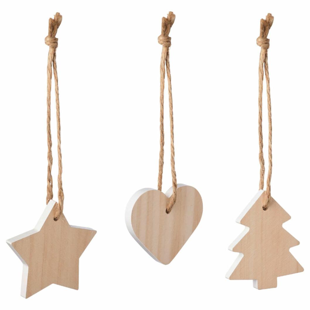 Julgransdekorationer i trä från Ikea