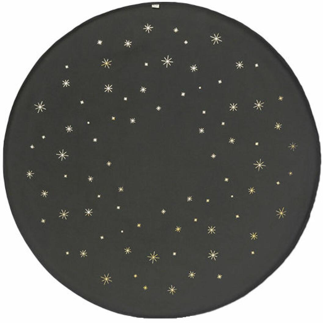 Svart julgransmatta med stjärnor