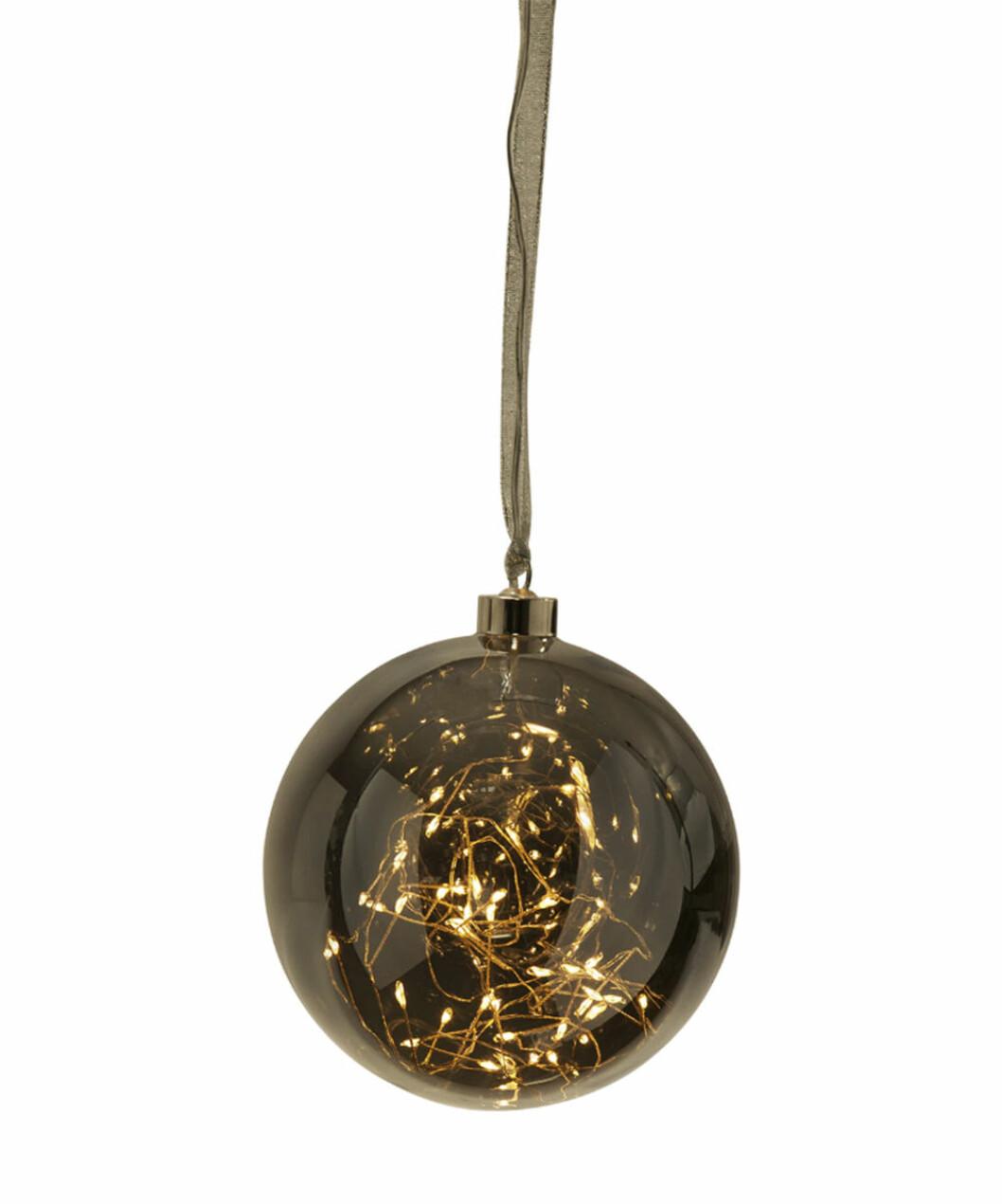 Rökfärgad julgranskula med led-ljusslinga i
