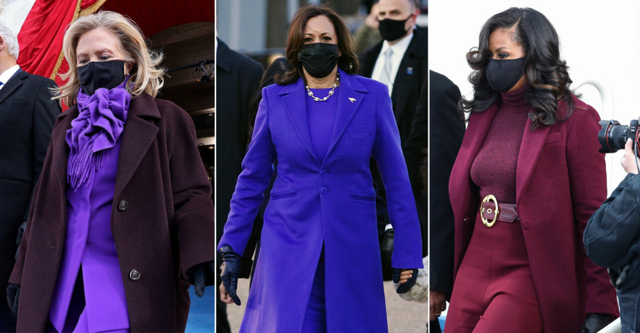 hillary clinton, kamala harris och michelle obama i lila kappor och svarta munskydd