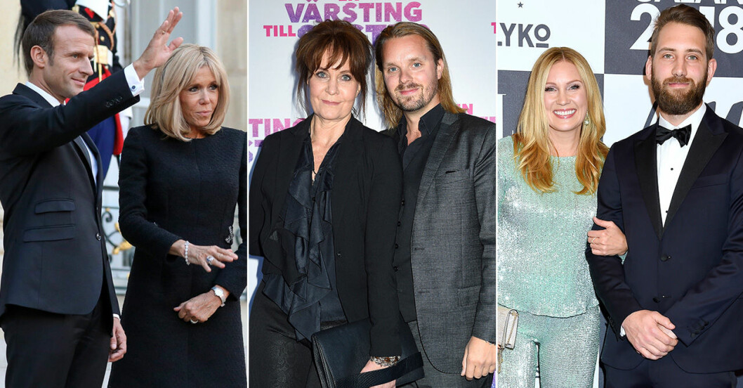 Emmanuel och Brigitte Macron, Maria Lunqvist och Kristoffer Hellström och Jessica Almenäs och Patrik Fahlgren