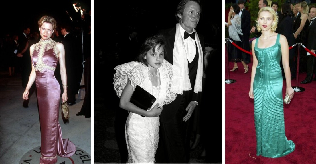 Bildkollage med tre gamla bilder på kändisar. Från vänster: Renée Zellweger, Angelina Jolie med sin pappa och Scarlett Johansson.