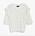 Vit, stickad t-shirt med volanger vid axlarna och vid ärmsluten. Tröja från Kappahl.