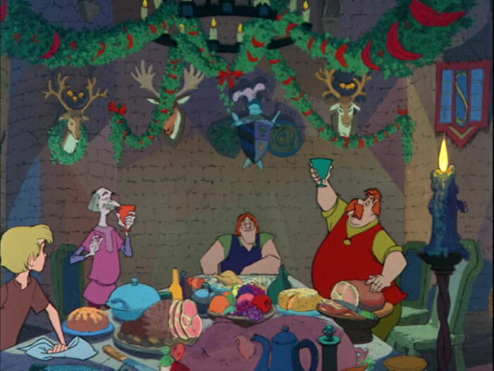 Karaktärerna äter kalkon vid sin julmiddag i filmen Disneys film Svärdet i stenen.