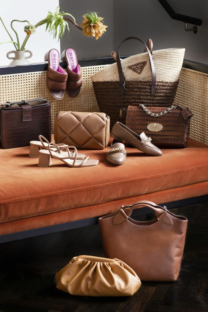 Tidlösa accessoarer i olika nyanser av brunt från mulberry, saint laurent och marimekko.