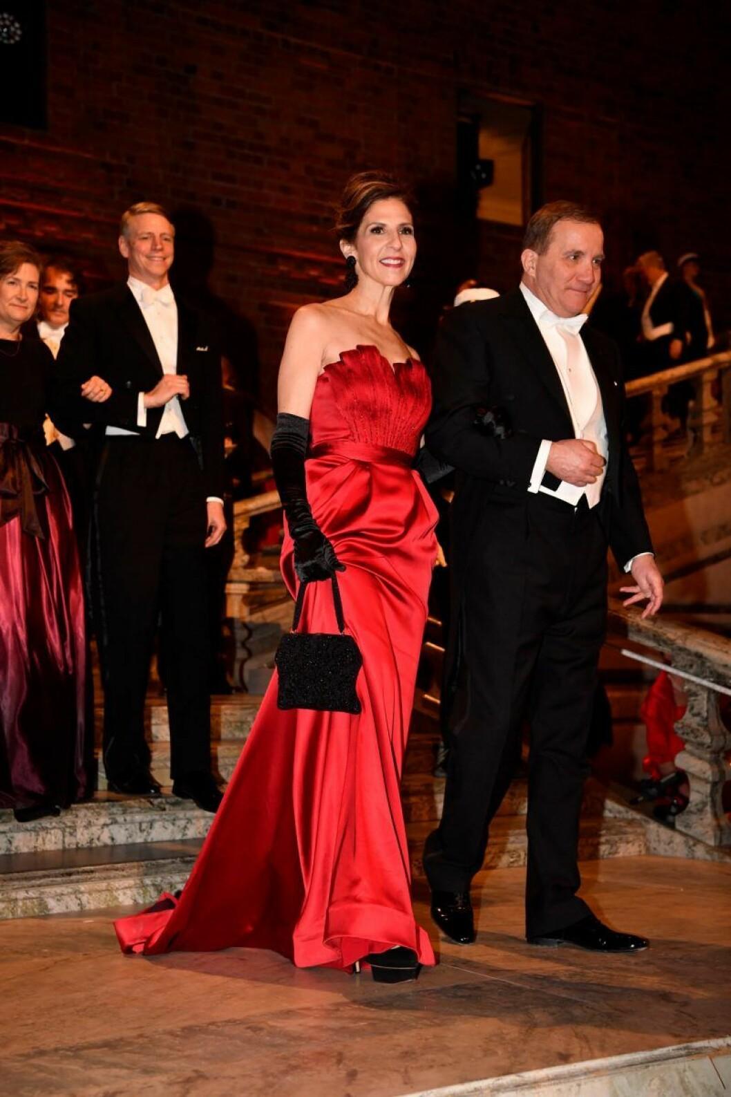 Karen S. Kantor och statsminister Stefan Löfven på Nobel 2019