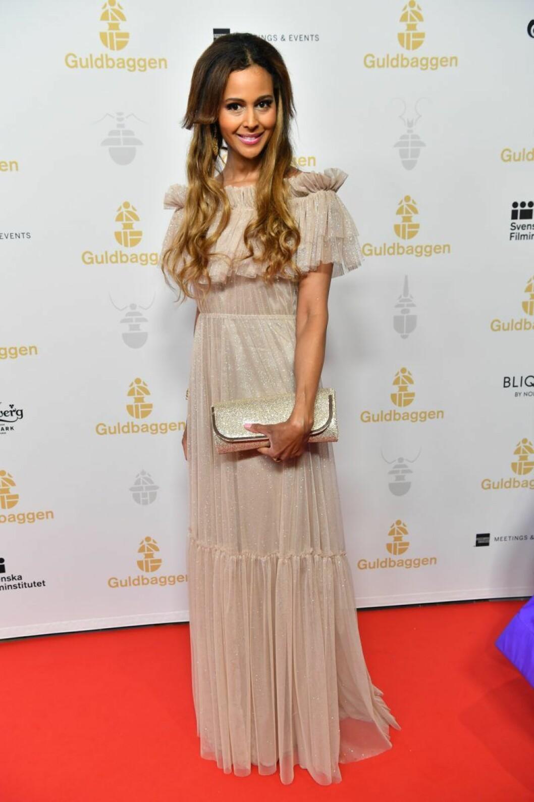 Katarina Sandström på röda mattan på Guldbaggegalan 2020