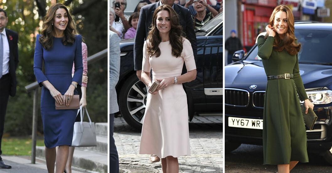 Kate Middleton i tre olika klänningar.