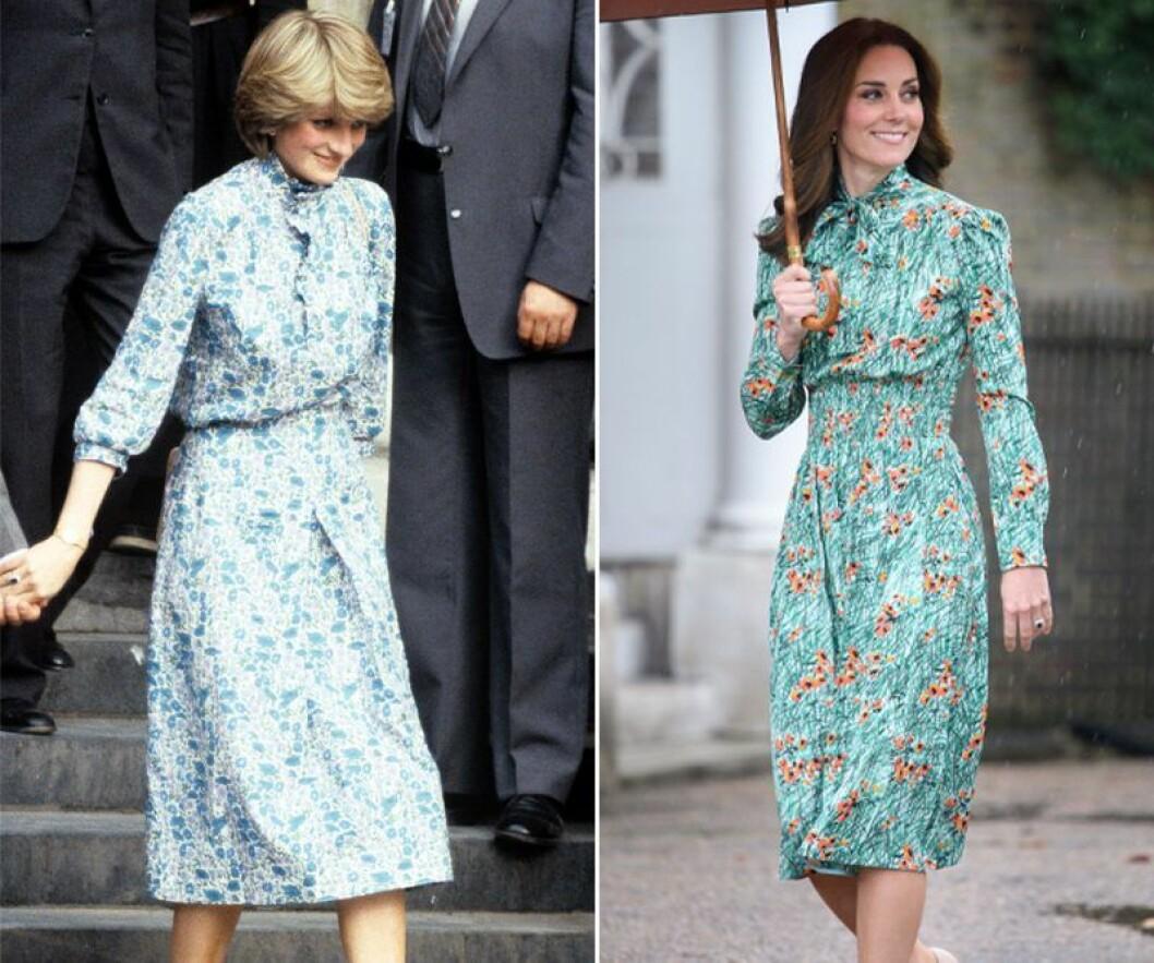 Kate Middleton och prinsessan Diana i grön blommig klänning