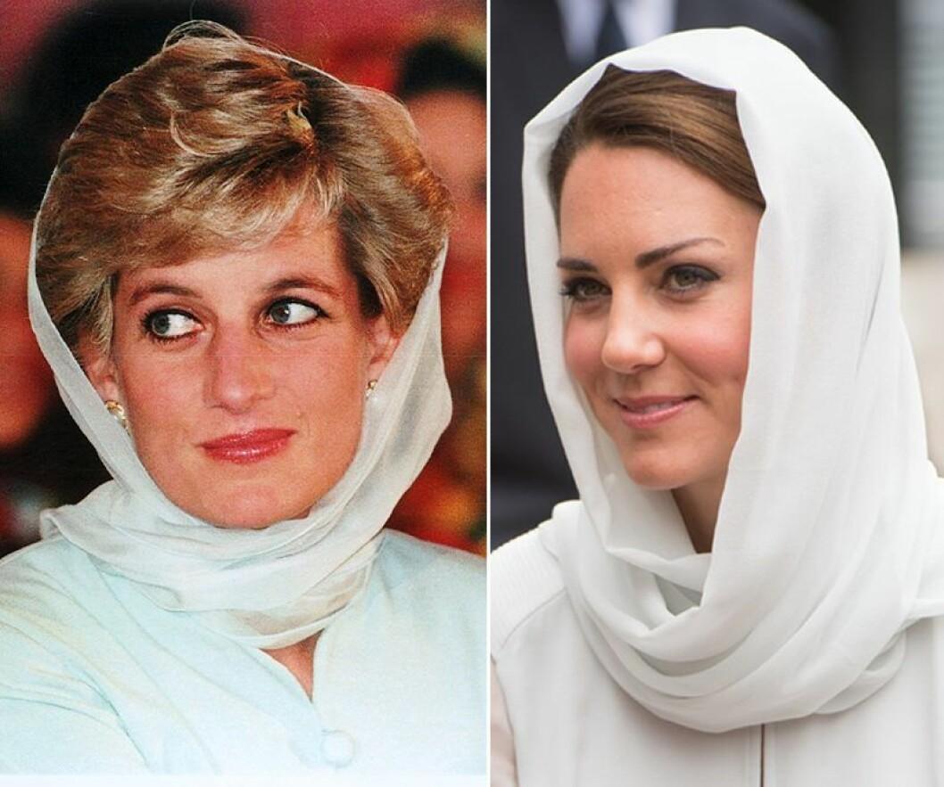 Kate Middleton och prinsessan Diana i vit sjal på huvudet
