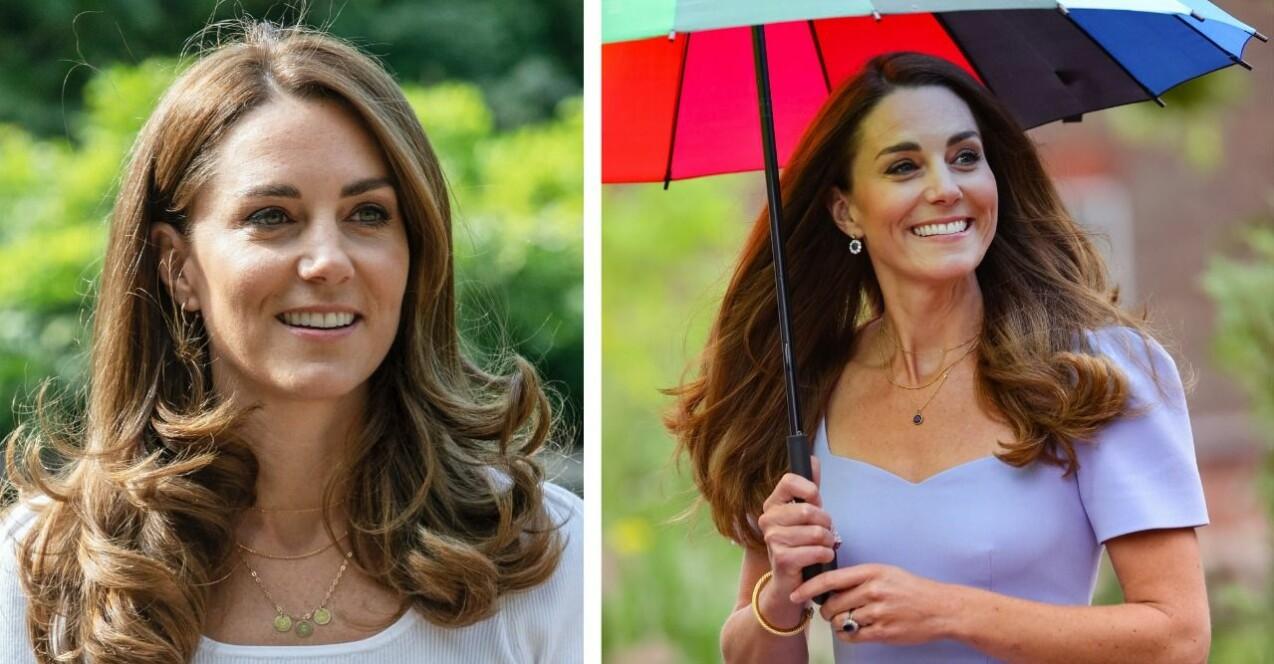 Två bilder på Kate Middleton där hon bär två olika halsband med sina barns initialer på.