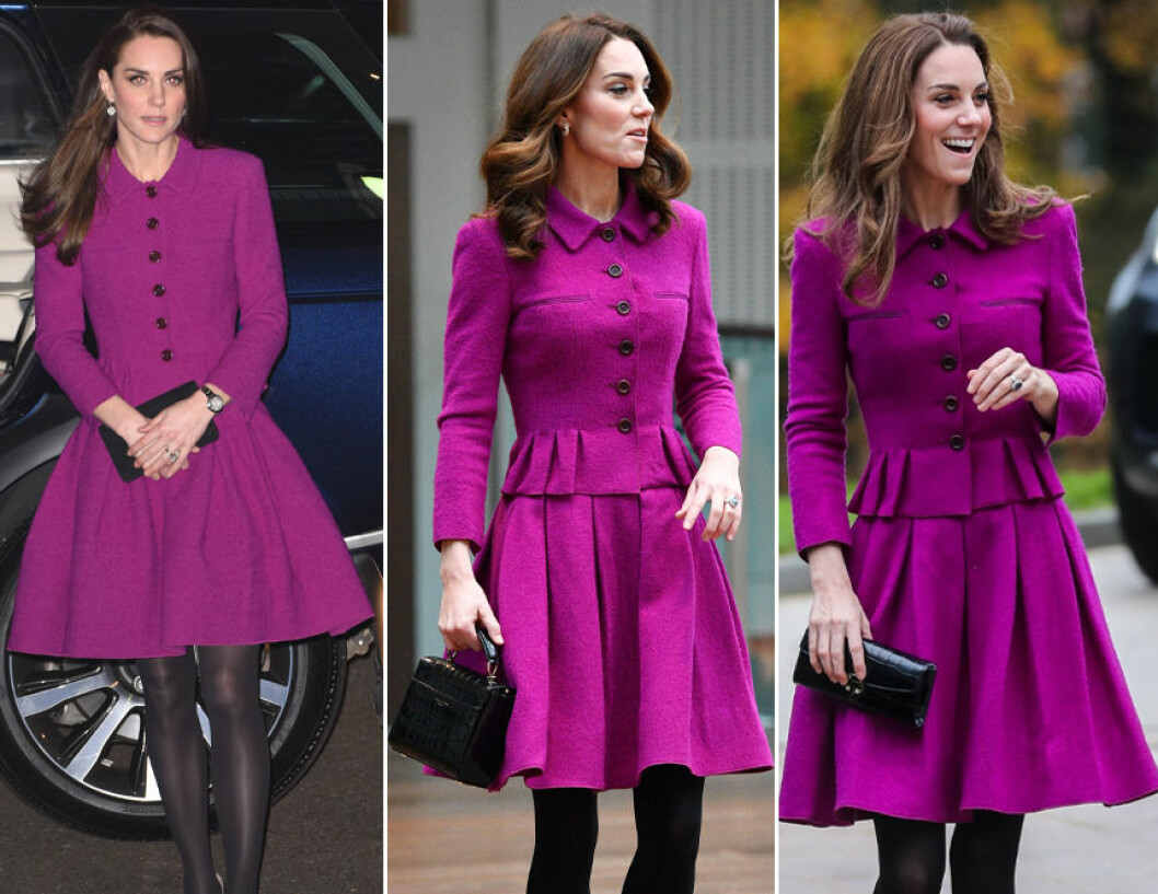 Kate Middleton i lila kappa