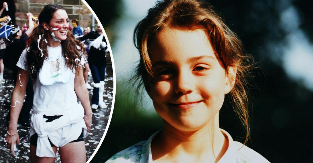 kate middleton är ung och är på fest på universitetet, samt en bild på Kate Middleton när hon är barn