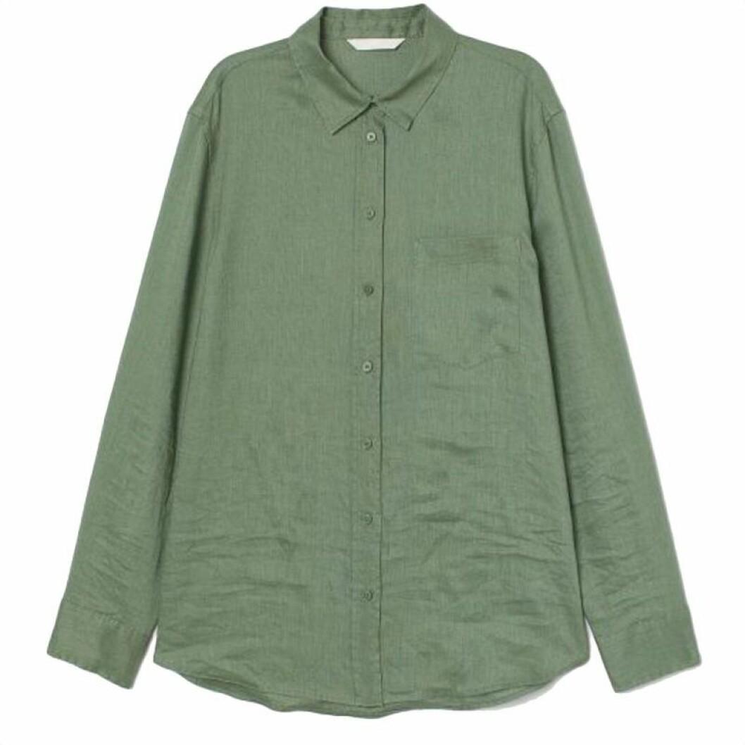 Kahkigrön linneskjorta från Cubus