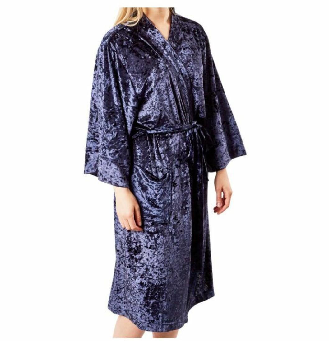 Mörkblå kimono i krossad plysch