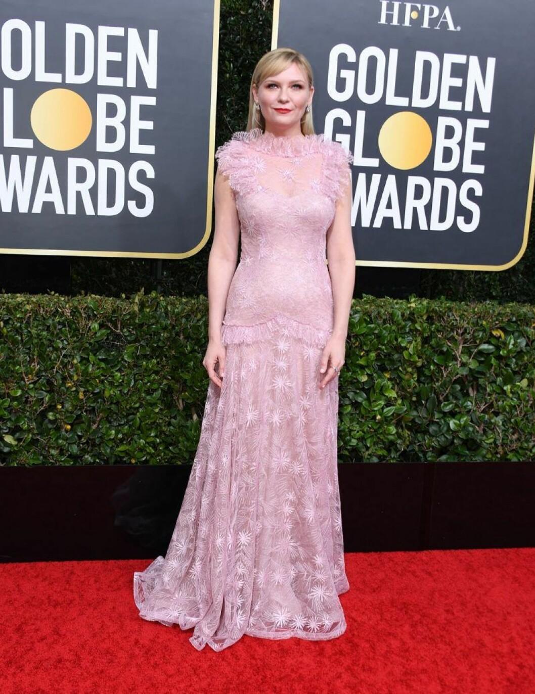 Kirsten Dunst på Golden Globes.