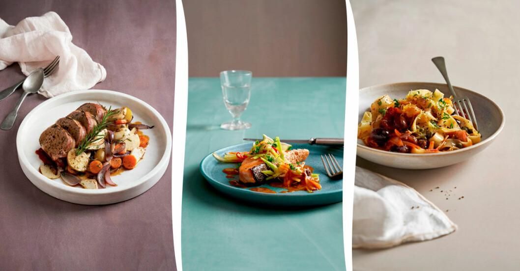 Köttfärslimpa, lax i curry och fettuccine puttanesca – lyxiga vardagsklassiker