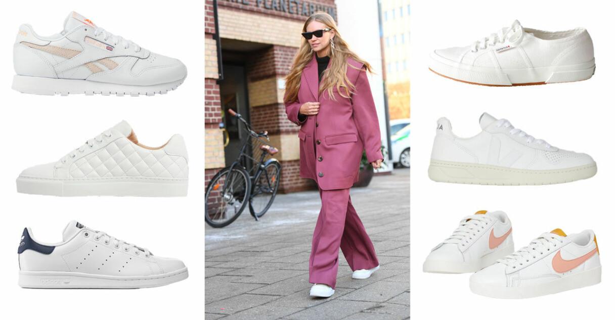 Klassiska vita sneakers dam