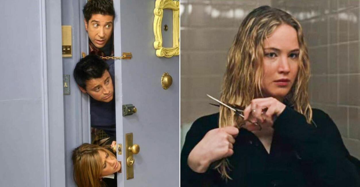 Vänner kollar in genom dörr på rad och Jennifer Lawrence klipper av håret