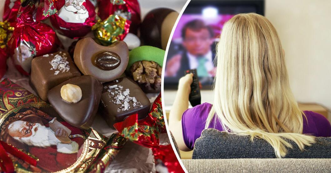 kollage med julgodis och kvinna som tittar på tv