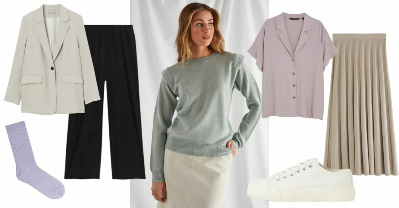 Inspirationskollage med kläder som fungerar lika bra på kontoret som hemma i soffan. Kläderna beskriva mer ingående längre ner i artikeln.