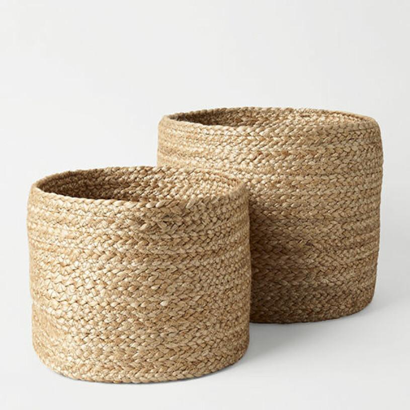 2-pack korgar från Åhlens i naturmaterial