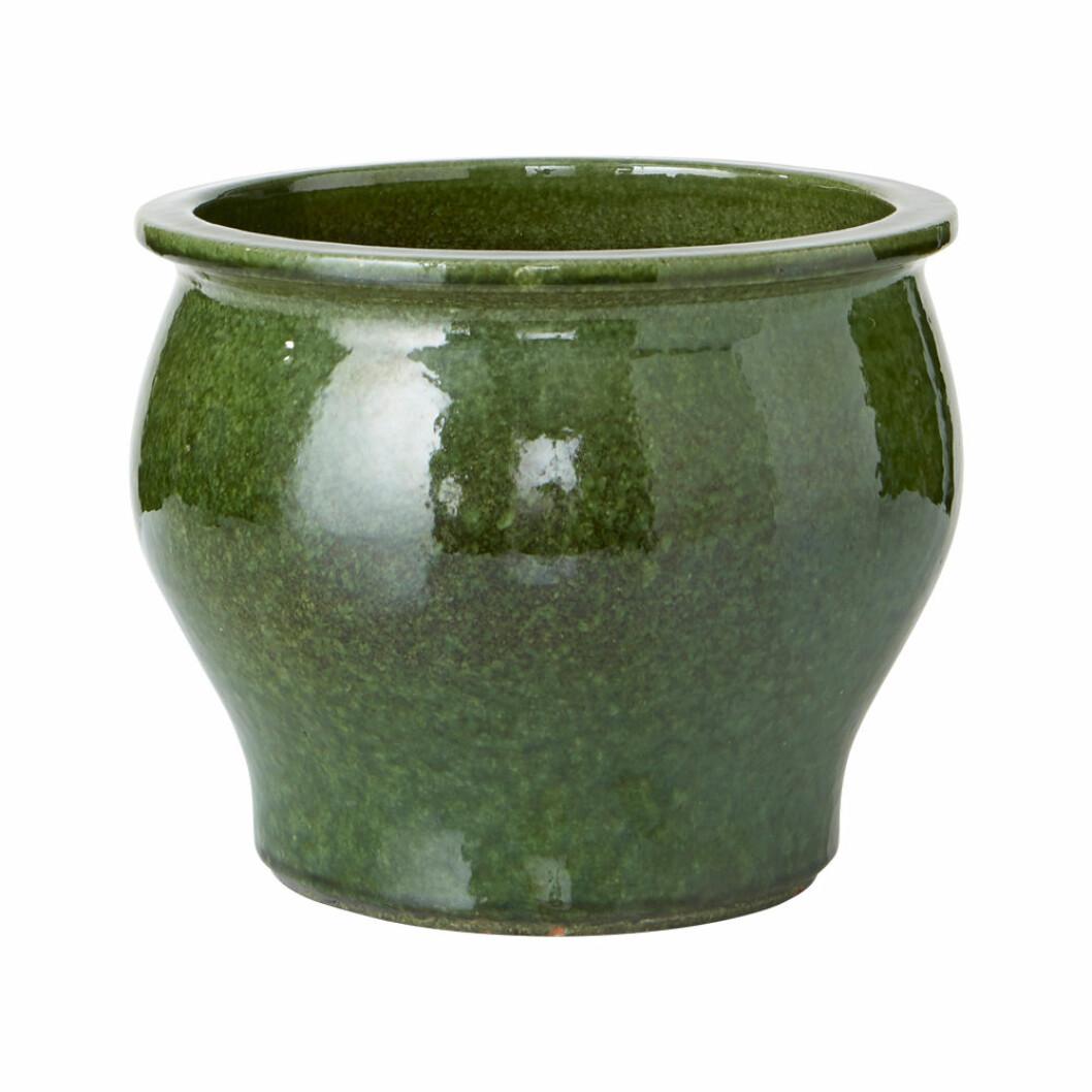 Grön kruka i glaserad keramik från Ellos Home