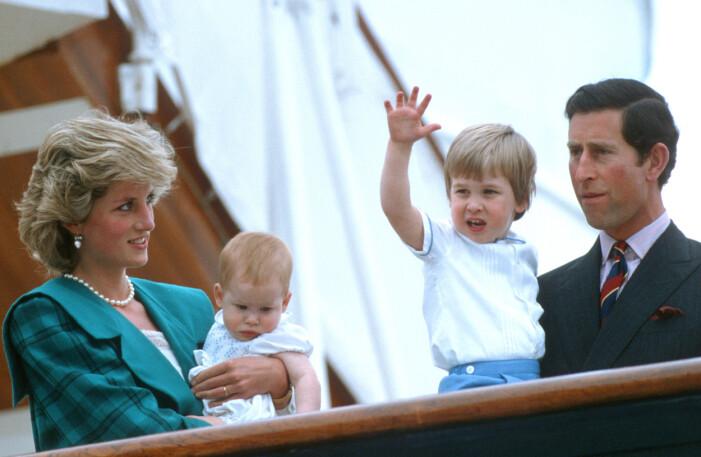 kungafamiljen med prinsessan diana, prins charles och sönerna harry och william