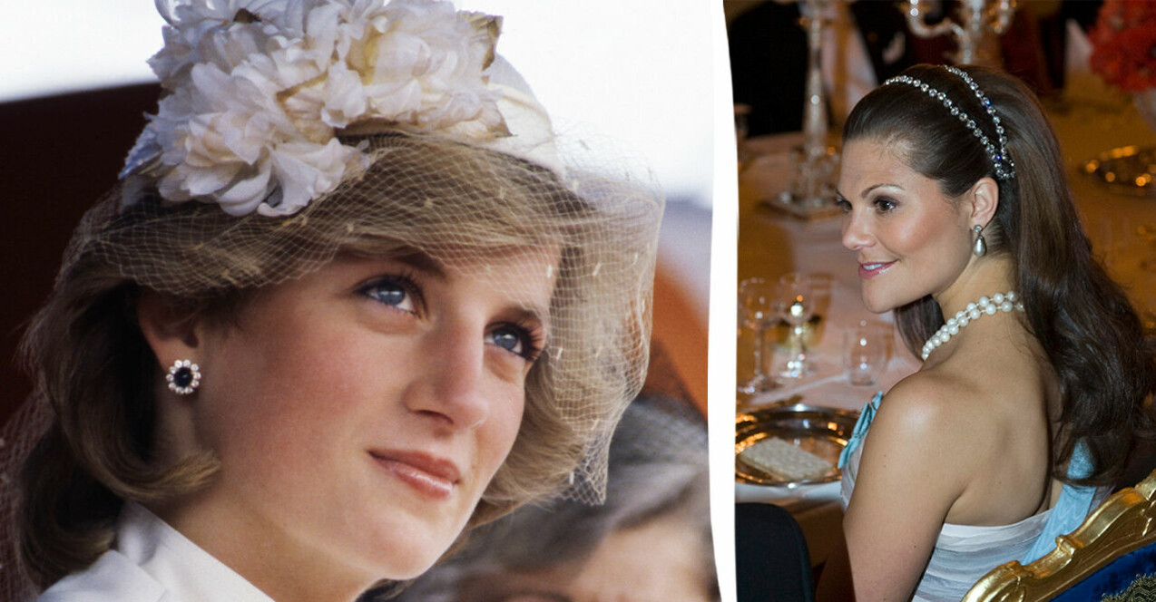 Diana prinsessan av Wales och kronprinsessan Victoria med vackra håruppsättningar.
