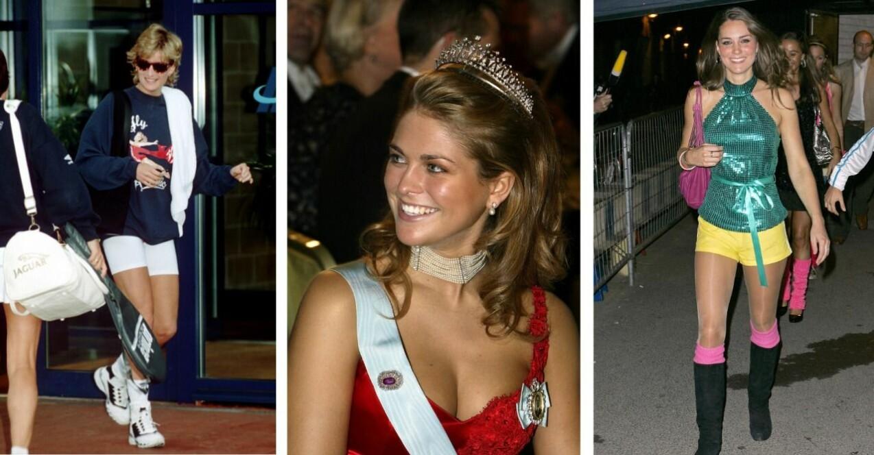 Tre bilder från vänster: Prinsessan Diana i träningskläder och cykelbyxor. Prinsessan Madeleine i tiara och röd, urringad klänning. Kate Middleton i färgglad disco-outfit med korta shorts och bara ben.