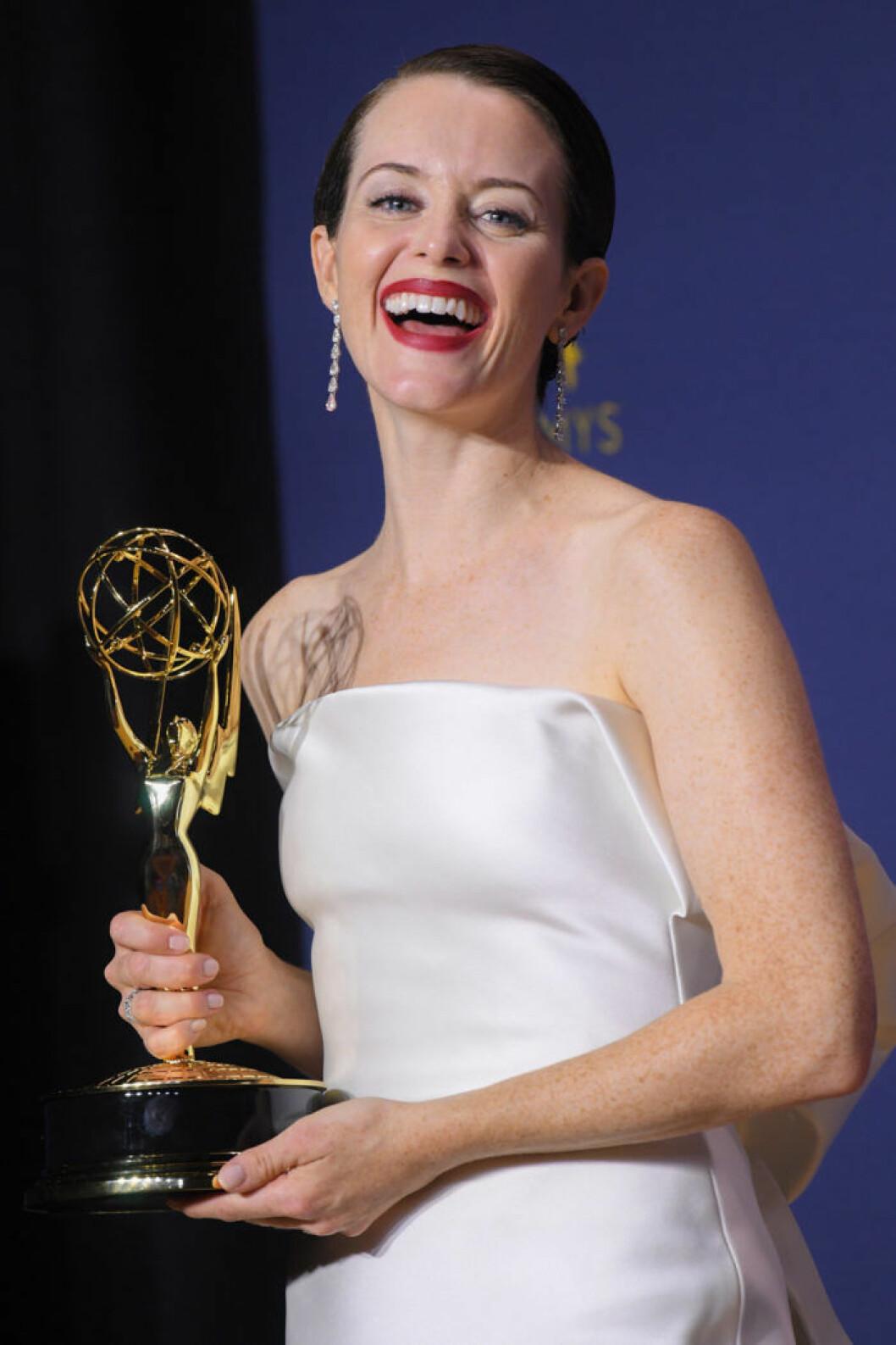 Emmy 2018: Bästa kvinnliga huvudroll i en dramaserie blev Claire Foy i The Crown.
