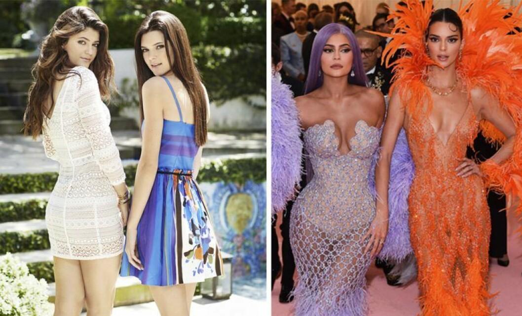 Kylie Jenner och Kendall Jenner då och nu