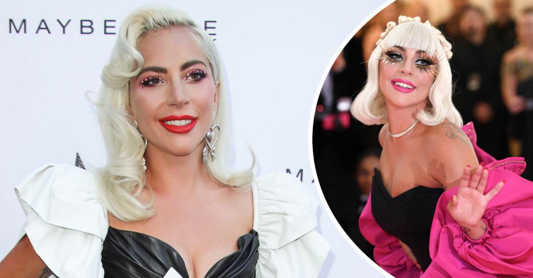 Lady Gaga på röda mattan är glad