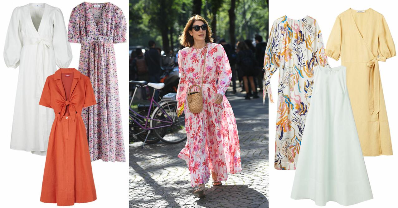långa klänningar att bära på våren och sommaren