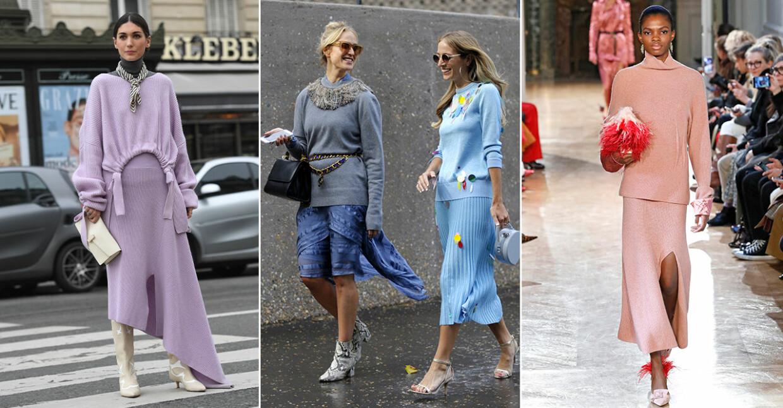Långa och snygga stickade kjolar