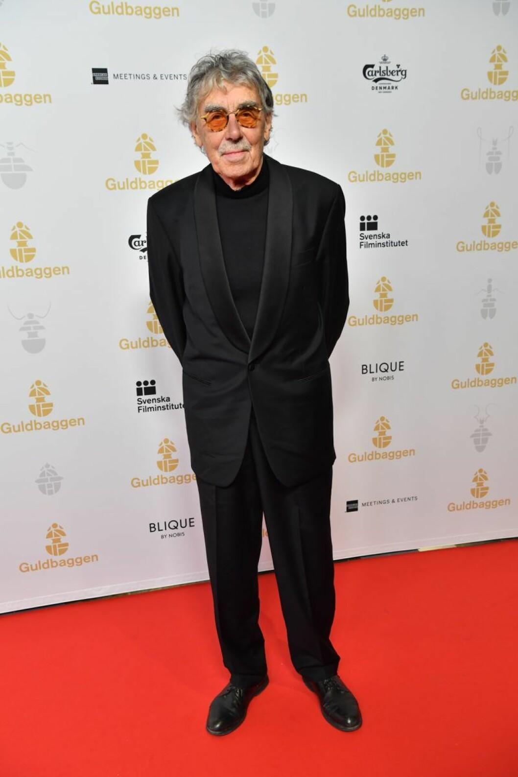 Lasse Åberg på röda mattan på Guldbaggegalan 2020