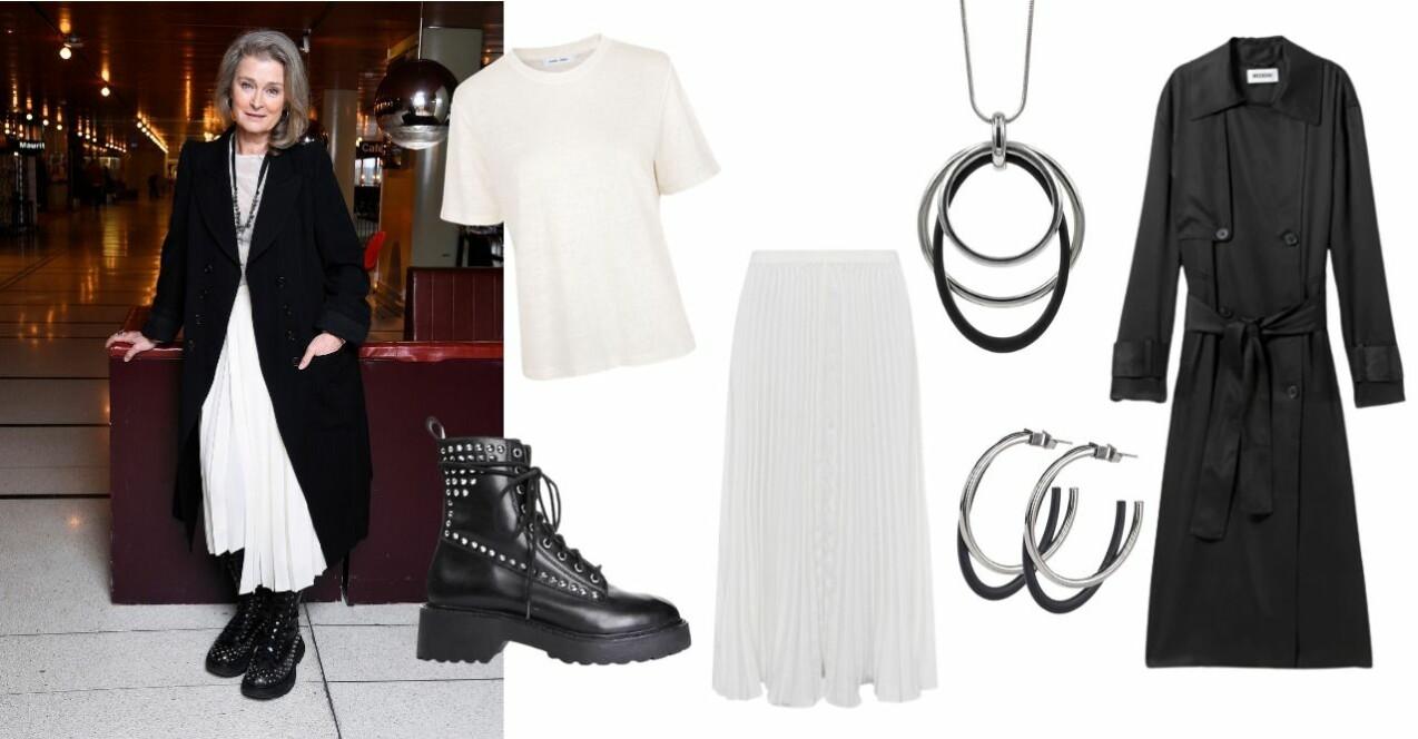 Lena Endre i vit t-shirt och plisserad, vit kjol med en svart rock över, står lutad mot en vinröd skinnsoffa i vad som ser ut som en hotellobby. På fötterna har hon chunky svarta kängor i skinn med silverfärgade nitar på. Hon ler med huvudet lätt på sne. Bredvid bilden på Lena är sex olika bilder på plagg som påminner om det hon har på sig. Vit t-shirt, vit-kjol, svarta kängor med nitar, svart trenchcoat och halsband och örhängen formade som ringar i silver och svart.