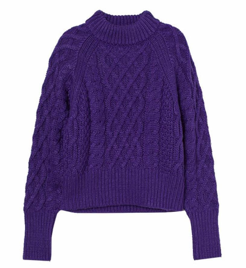 lila stickad tröja från hm