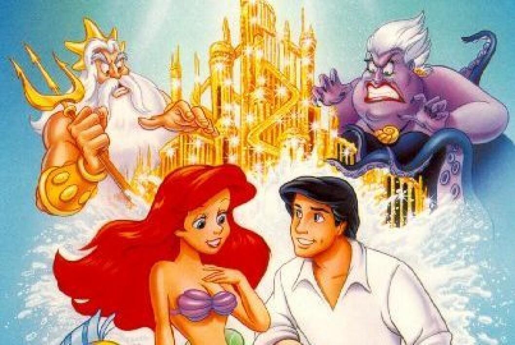 Prins Eric och Ariel framför ett slott i guld