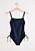 Marinblå baddräkt med smala axelband och drapering i midjan. Baddräkt från Lindex.
